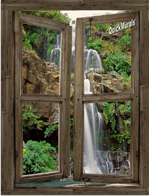 canvas wall murals waterfall cabin window 4 peel stick 1 canvas wall mural