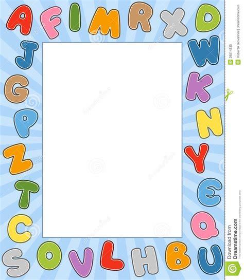 printable alphabet letters to frame cartoon alphabet photo frame stock vector illustration