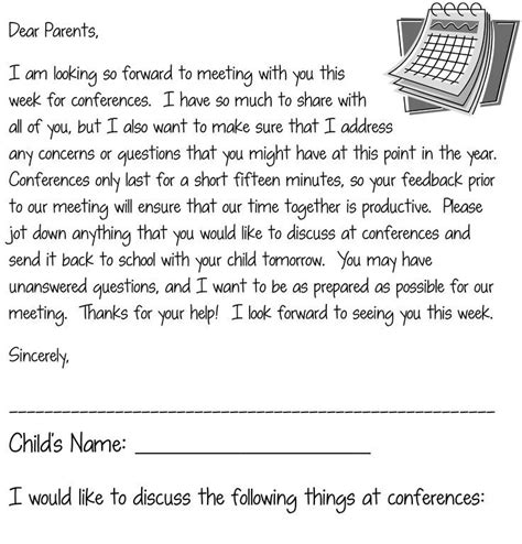 Parent Conference Invitation Letter 134 Best Images About Parent Conferences On Back To School Teaching