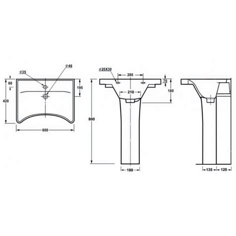 Bathroom Design Dimensions by Ergonomic Concave Wash Basin Full Height Pedestal