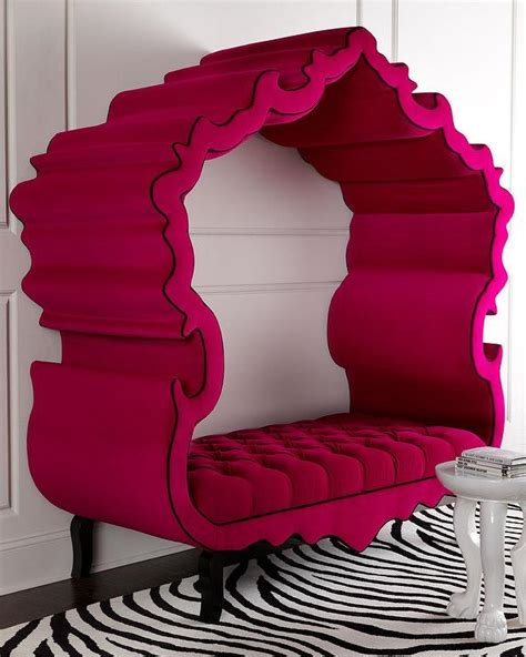 girls hot funky pink bedroom furniture ottoman storage haute house hot pink tufted canopy thebes bench