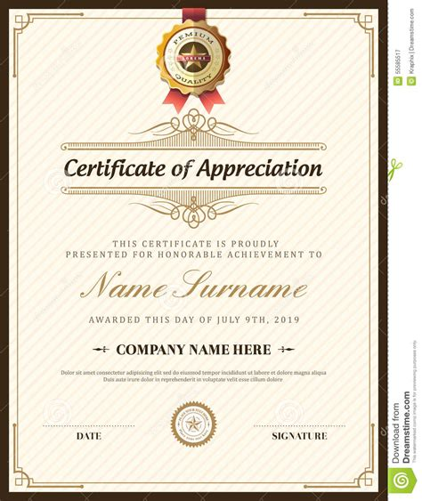 vintage certificate template vintage retro frame certificate background template stock