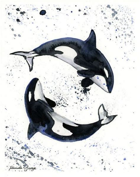 black and white whale yin yang with watercolor splashes