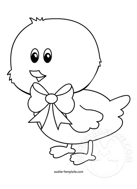 chick with bow coloring page easter template