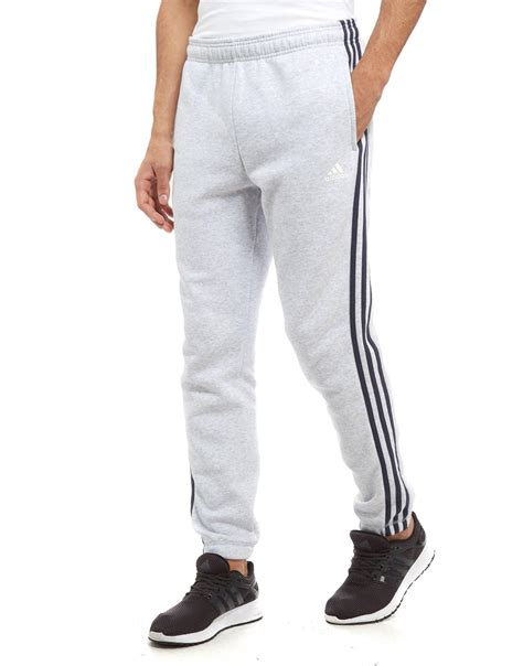 light grey adidas pants lyst adidas 3 stripes essential track pants in gray for men