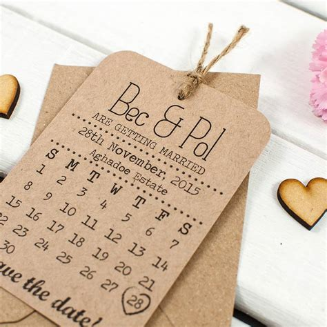 Calendar Save The Date Kraft Calendar Save The Date Wedding Cards By Norma