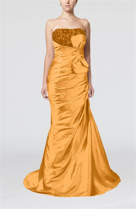 Bow Back Dress A21924 Apricot apricot wedding dress outdoor mermaid strapless