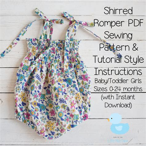 free toddler romper sewing pattern shirred romper pdf sewing pattern tutorial style