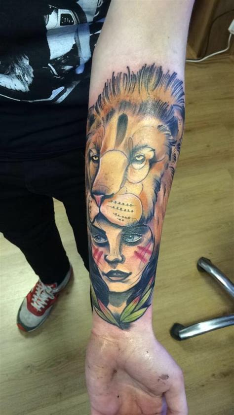 tattoo prices nanaimo lion girl by luke skinner rock n roll tattoos glasgow