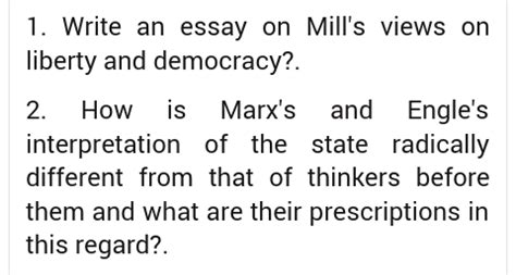 Mill Essay On Liberty by Write An Essay On Mill S Views On Liberty And Democracy Enotes