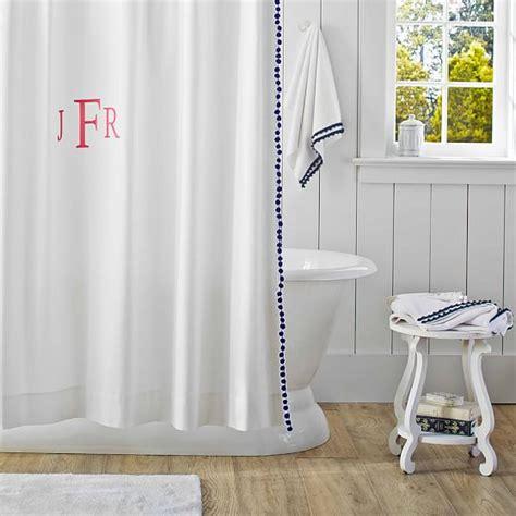 pom pom shower curtain pom pom shower curtain royal navy pbteen
