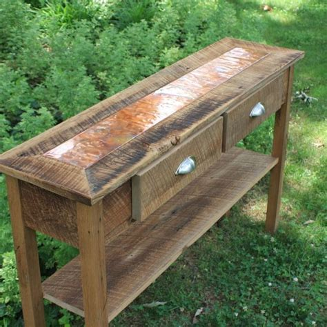 Distressed Entry Table Custom Made Sofa Table Entry Table Distressed Copper Inlay Reclaimed Wood Rustic