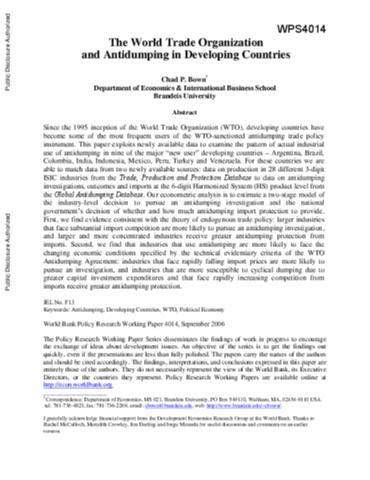 World Trade Organization Research Paper by The World Trade Organization And Antidumping In Developing