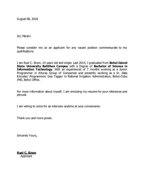 letter of application for staff position application letter