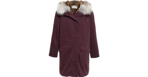 Parka Canvas Maroon Quality yves salomon classic rabbit fur lined canvas parka in