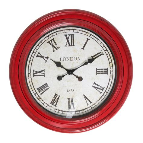 buy clock buy fulton large wall clock red purely wall clocks