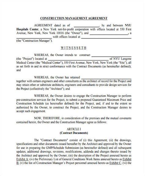 construction management agreement construction management agreement residential