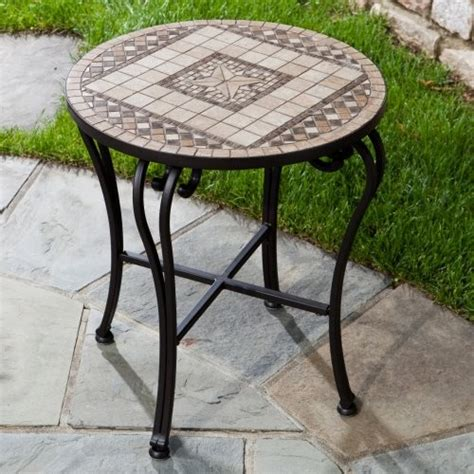 alfresco home marble mosaic outdoor side table
