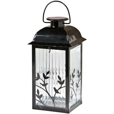 Lantern Solar Lights Outdoor Shop Gemmy 5 3 In X 12 2 In Black Glass Solar Outdoor Decorative Lantern At Lowes