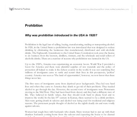 Prohibition History Essay by Why Was Prohibition Introduced In The Usa In 1920 Gcse History Marked By Teachers