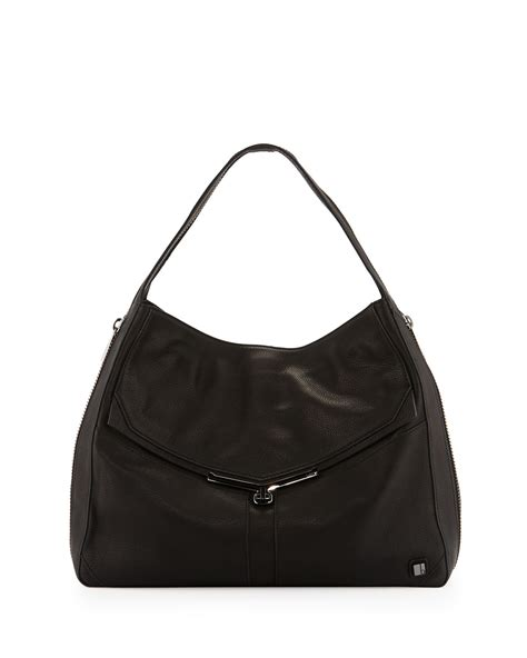 Botkier Black Ruched Hobo by Botkier Valentina Pebble Leather Hobo Bag Black In Black
