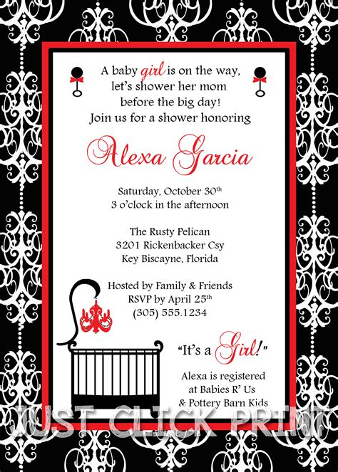 Damask Baby Shower Invitations by Classic Damask Baby Shower Invitation Printable Any