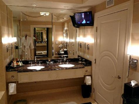 palazzo bathroom suite 25833 bathroom double vanity and hd tv above