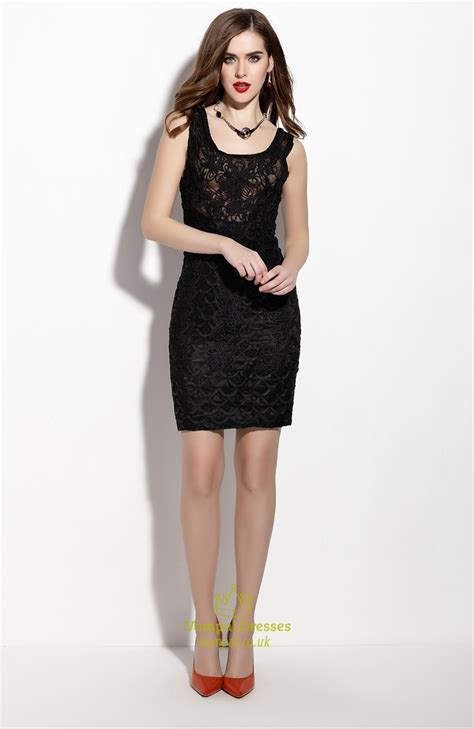 black lace cocktail dress sleeveless