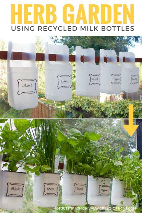 indoor bottle herb garden  recycled milk bottles