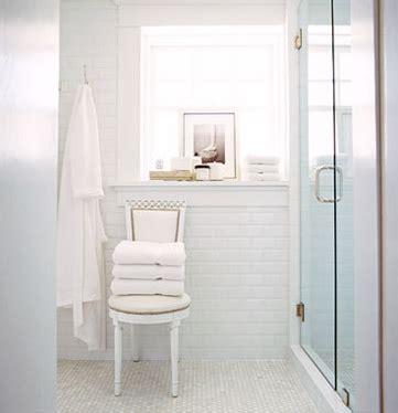 White Marble Subway Tile Bathroom by Beveled Subway Tile Design Ideas