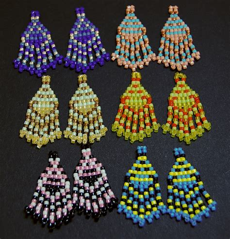 seed bead earrings and canes small designs with a