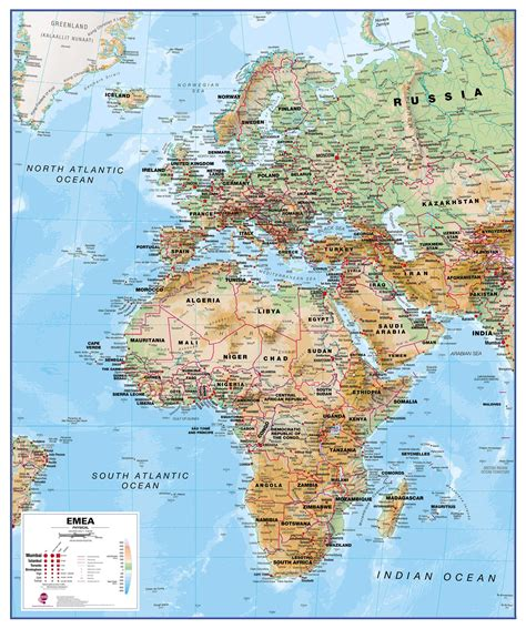 map of europe and middle east europe middle east africa emea physical map