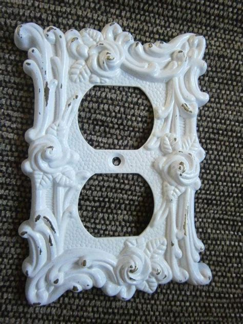 shabby chic outlet covers shabby white chic outlet cover plate wallplate