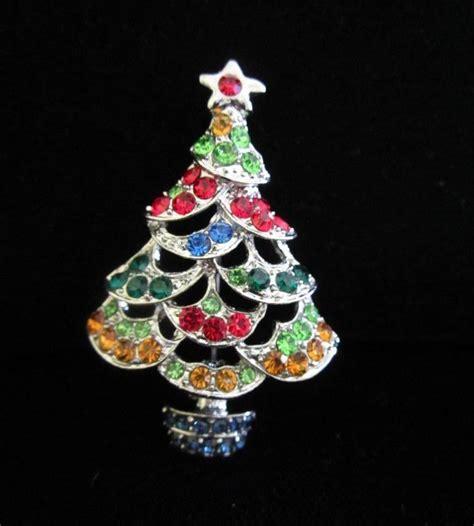 vintage multi colored rhinestone christmas tree pin brooch