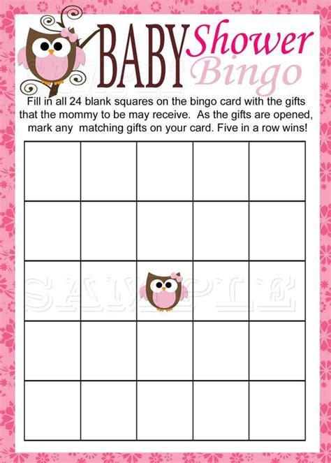 Baby Shower Bingo Card Template by Baby Owl Bingo Printable Pink Baby Shower Instant