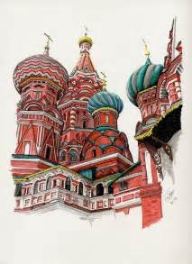 new color pen amp ink drawing st basil s cathedral