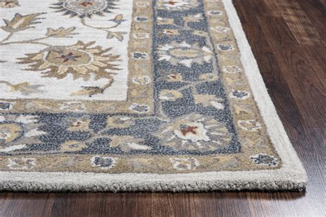 valintino floral vine border wool runner rug in taupe blue gray rust 2 6 quot x 8