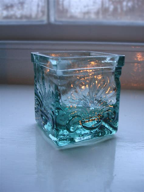 recycled glass recycled glass tealight holder simplicity