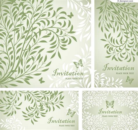 Design Patterns Invitation Cards | 4 designer fresh leaf pattern invitation cards vector