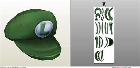 Papercraft Hat - papercraft pdo file template for mario luigi s hat