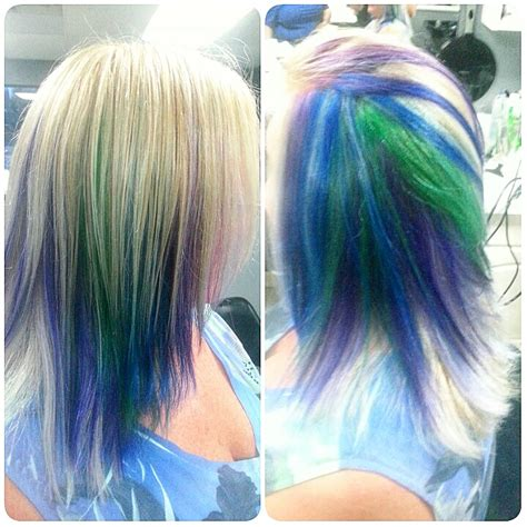 color blocking hair peacock hair color block sections on hair http