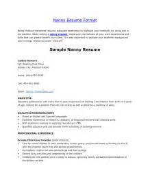 Resume Nanny Sle by Sle Nanny Resume Exles With Sle Experienced Nanny Resume Objective