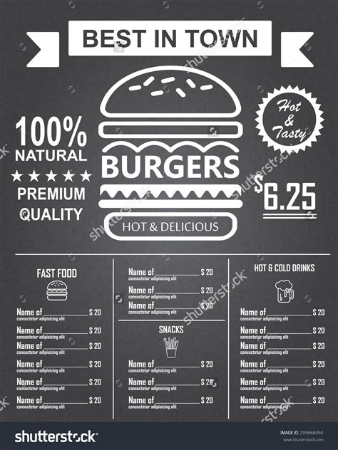 top bar burger menu burger menu poster design on the chalkboard infographics