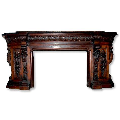 antique carved mahogany fireplace mantel for sale
