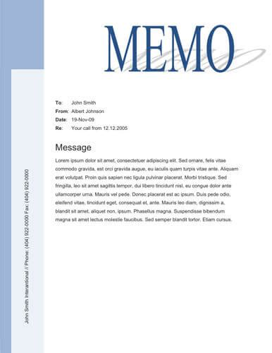 Free Memo Template by Big Title Blue Sidebar Free Memo Template