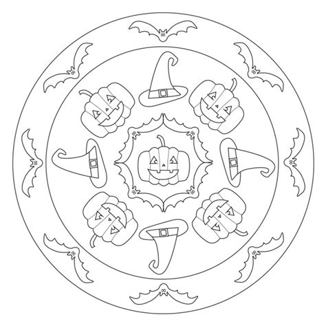Halloween Mandala with Bats and Jack o Lanterns for pre K