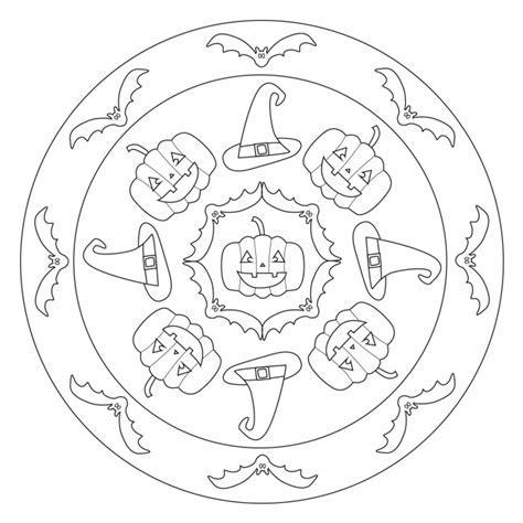 halloween coloring book printable - Halloween Mandala with Bats and ...