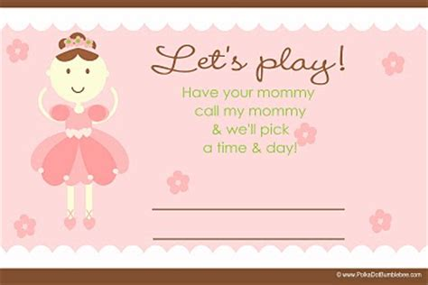 Playdate Cards Printable Template by From The Up Free Printable Playdate Cards
