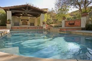 Split Level Open Floor Plan Kitchen ams landscape design studios mediterranean pool los
