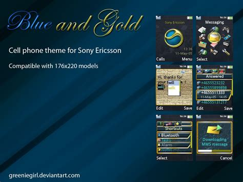 gold themes for phone blue and gold cell phone theme by greeniegirl on deviantart